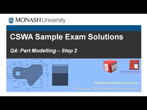 SolidWorks CSWA Practice Exam Solutions Part 4: Q4 Part Modelling ...