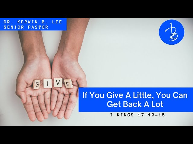 3/28/2021 If You Give A Little, You Can Get Back A Lot