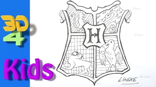 How to draw the Hogwarts Schield Logo - Harry Potter easy for kids