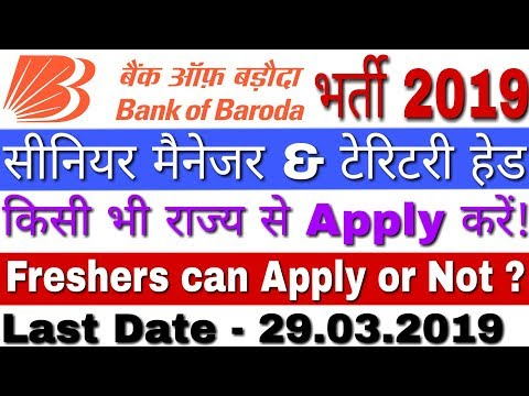 Bank of Baroda Recruitment 2019 SRM, TH Posts | BOB Bank Vacancy 2019 | BOB Recruitment 2019