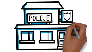 how to draw police station for kids ! Youtube Videos for Kids