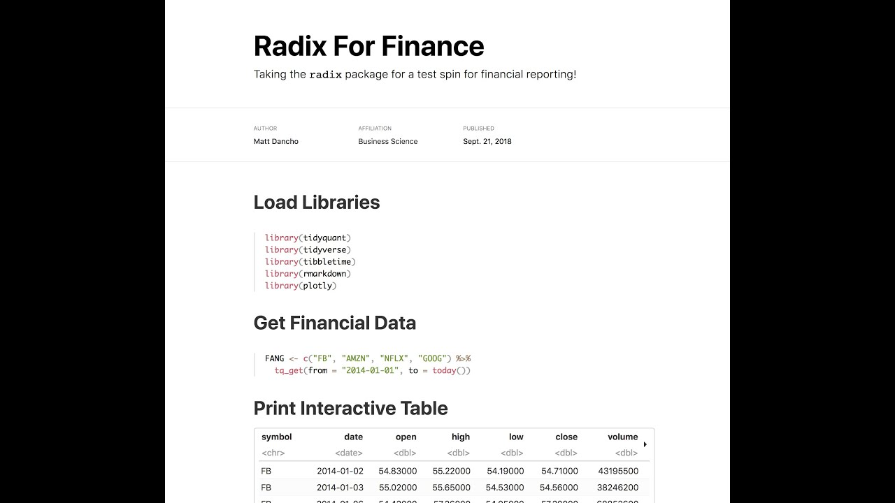 Finance Report With The New Radix R Package