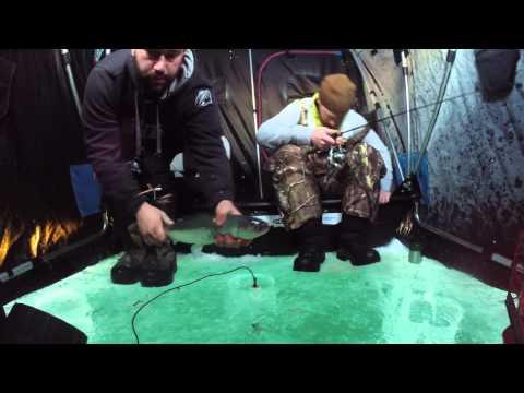 North Shore Trout Kings Many crazy coho salmon ice fishing go pro lake superior Duluth MN
