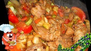 Кабачки с мясом, капустой.. Мясо жаренное на сковороде