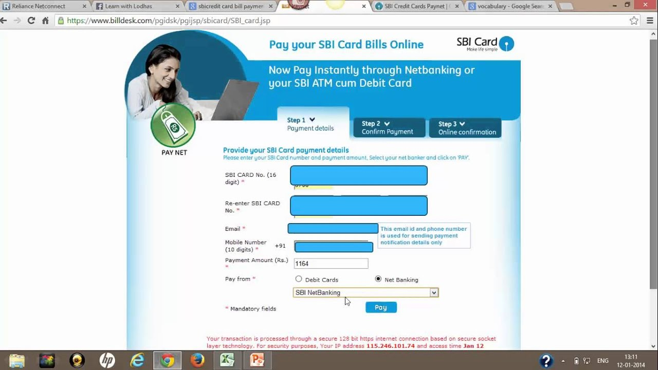 How to pay Credit Card bills online