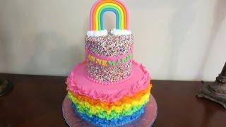 How to make a Rainbow Ruffle Fondant Cake