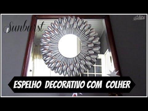 DIY ESPELHO COM  COLHER DESCARTÁVEL PRATA LETICIA ARTES