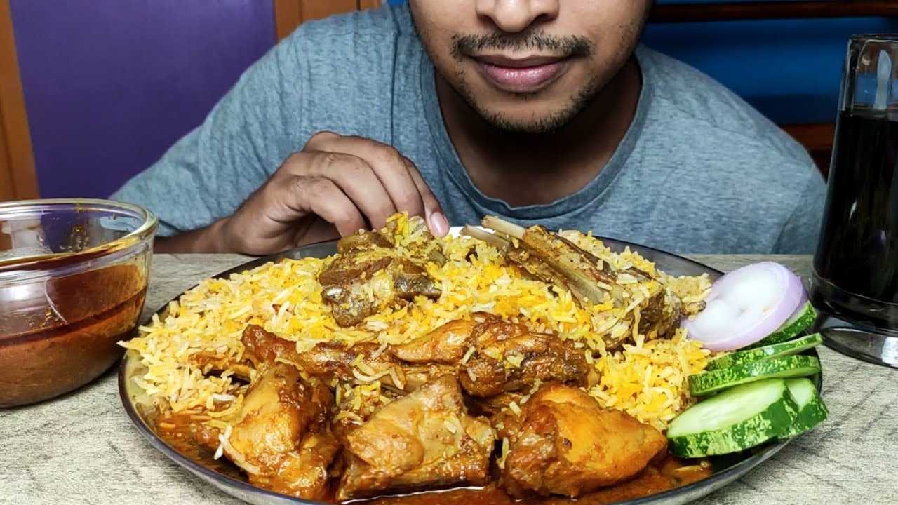 EATING MUTTON DUM BIRYANI AND SPICY CHICKEN CURRY WITH EXTRA GRAVY   BIG BITES   FOOD EATING VIDEOS