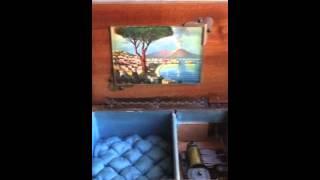 1930s Italian Vintage Wooden Musical Jewellry Box. Inlaid. Napoli. Swiss.