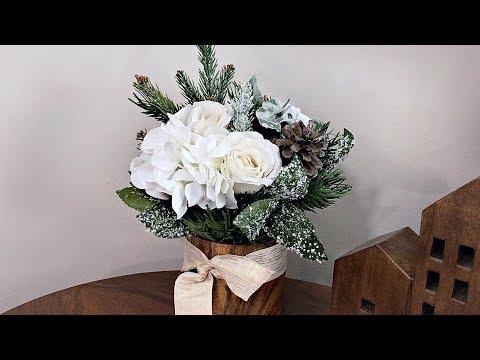 Neutral Elegant Christmas Pine Floral Arrangement  - Small Christmas Centerpiece - Winter Wedding