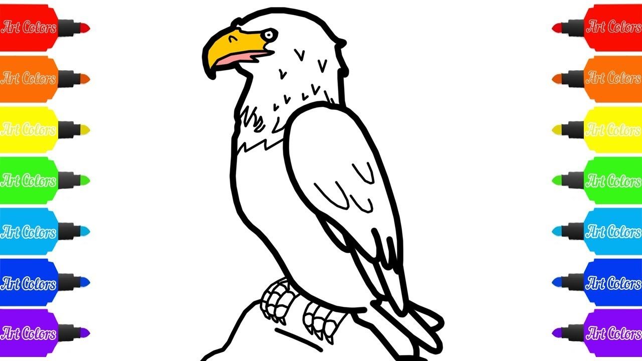 How To Draw A Bald Eagle Coloring Pages Drawing Videos For Childrens Youtube