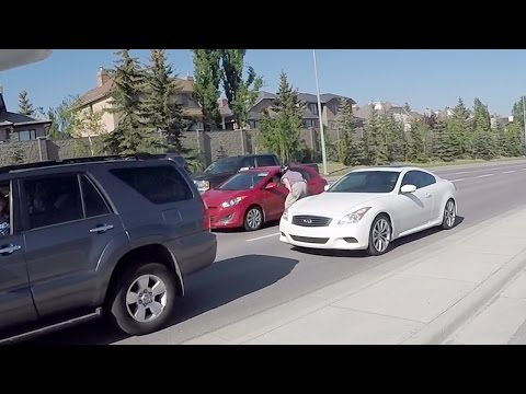 Old man vs Young Chick ROAD RAGE!