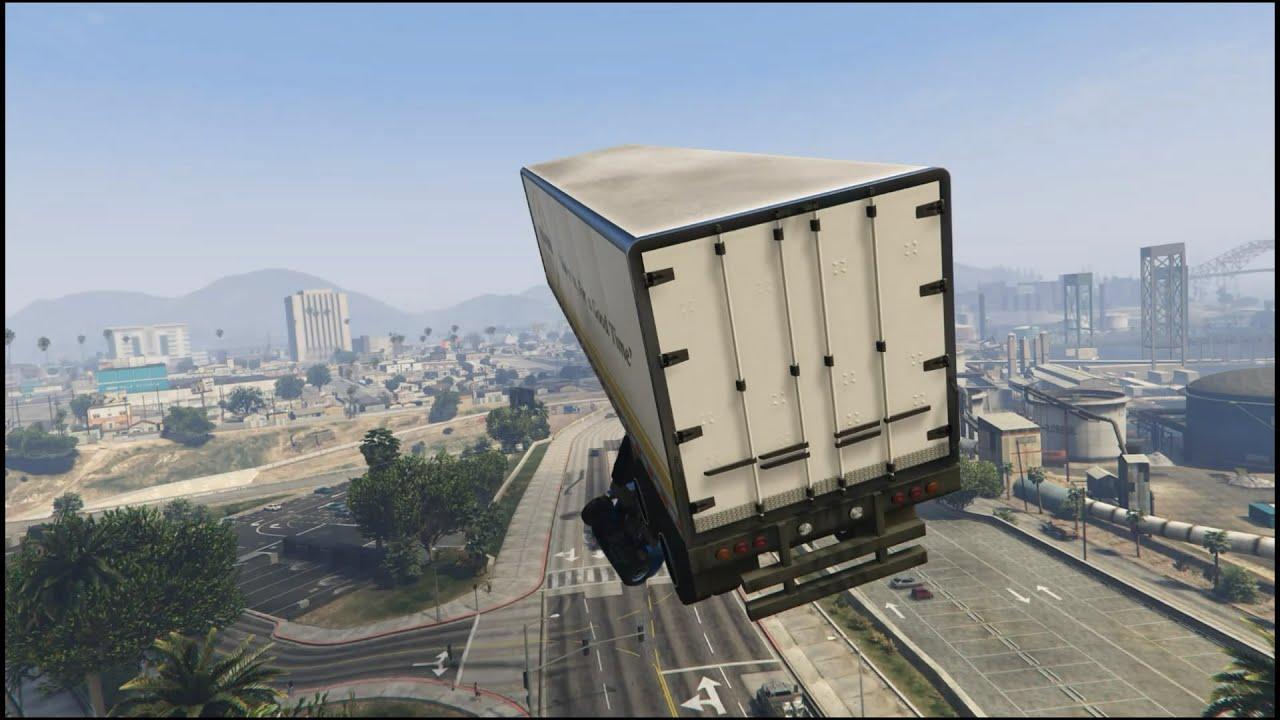 GTA 5 Semi Truck Stunt Jump YouTube