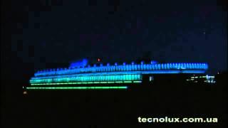 Архитектурная подсветка офиса лампами Tecnolux(Архитектурная подсветка головного офиса