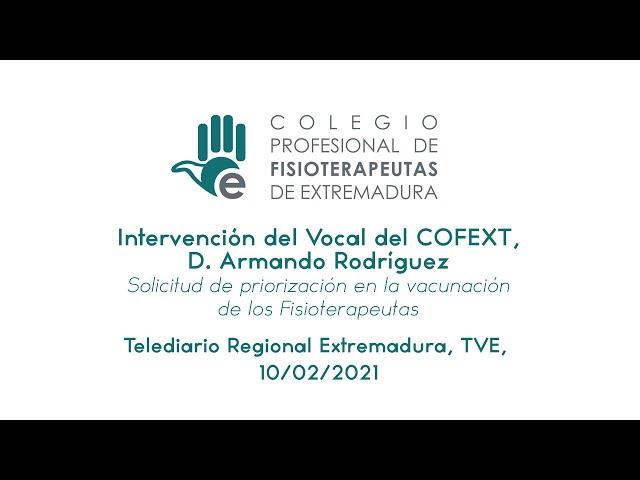 Intervención del vocal  del colegio en el telediario regional de Extremadura de TVE.