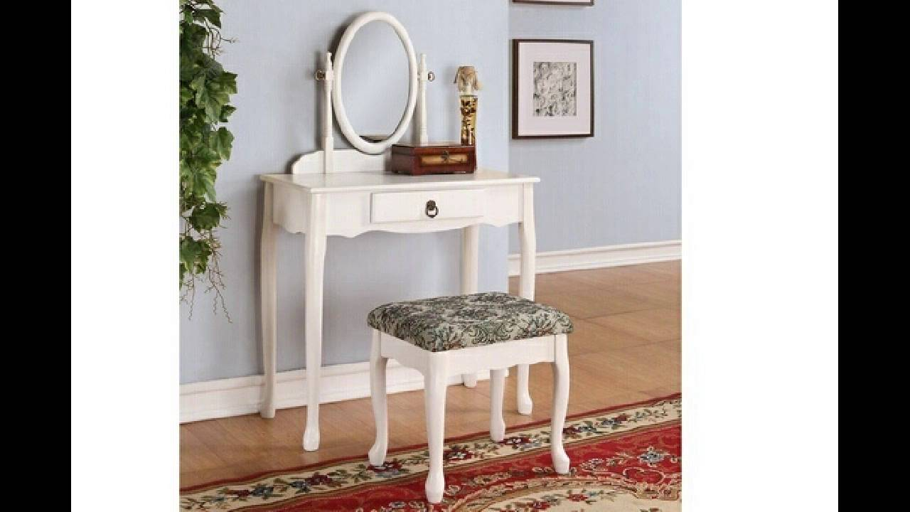 3 Pc White Finish Wood Make Up Bedroom Vanity Set With Curved Legs Stool  And Ova
