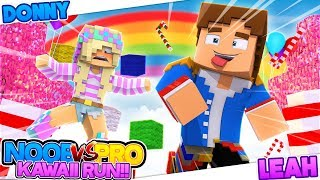 Minecraft PRO VS NOOB - CRAZY CAT LAND KAWAII RUN!! Donny & Leah Adventure Map.