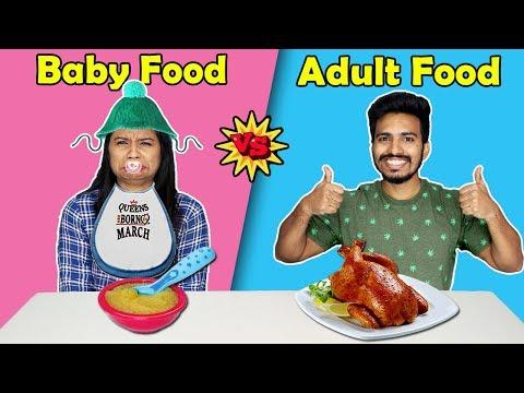 Baby Food vs Adult Food Eating Challenge | Baby Food Vs Real food | Hungry Birds