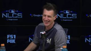 Brewers' Counsell speaks before NLCS Game 5