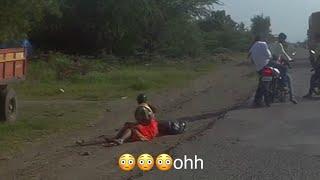 Lady fell down from the bike (worst road baramati-phaltan)
