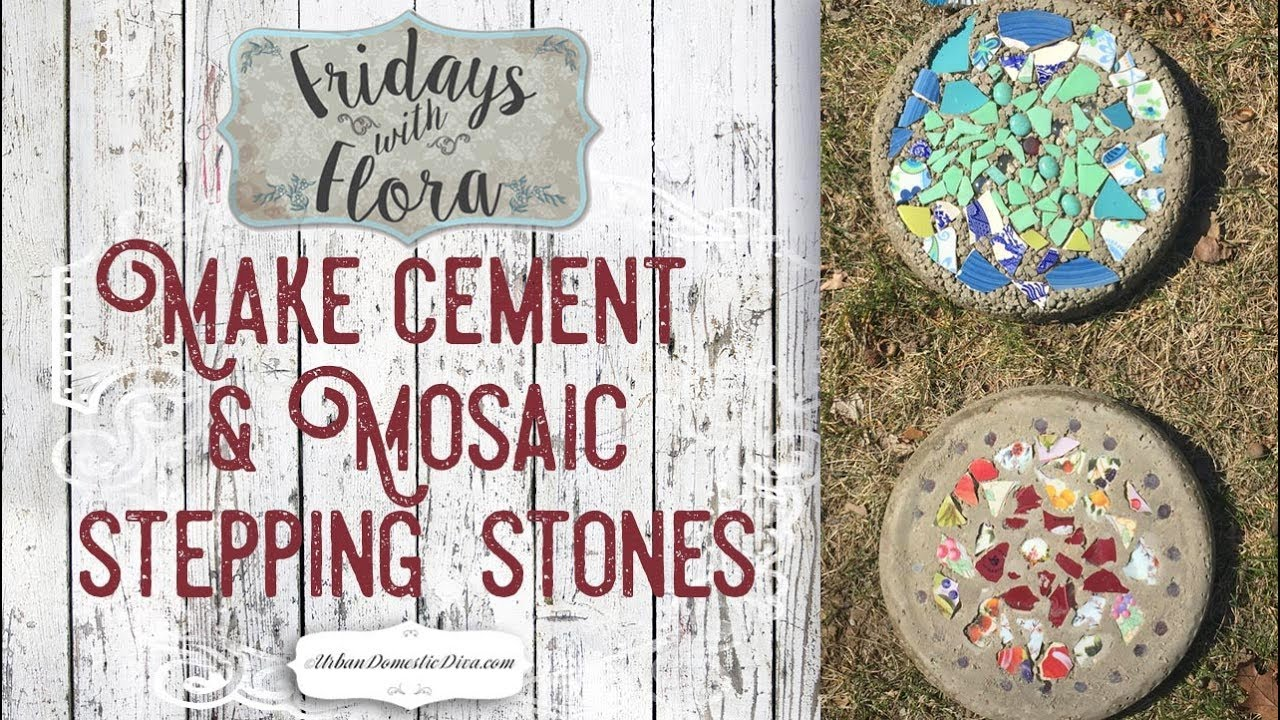 Make Diy Concrete Mosaic Stepping Stones For The Garden