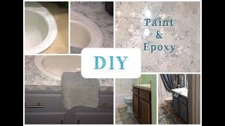 DIY Painted Countertops | Granite | Giani White Diamond | Formica Countertops | Bathroom Makeover