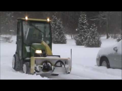 John Deere X749 Tractor With Hard Cab Amp Snowblower Youtube