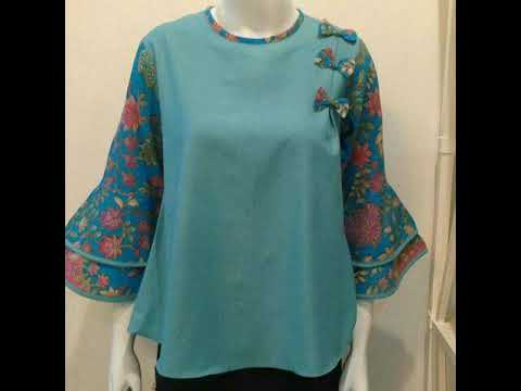 Baju Atasan Batik Blouse Wanita Kombinasi Polos Untuk Wanita Modern