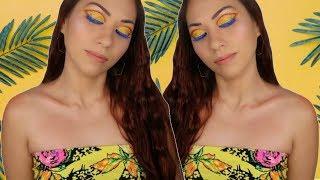 Yellow Glitter Cut Crease + Blue Mascara Makeup Tutorial