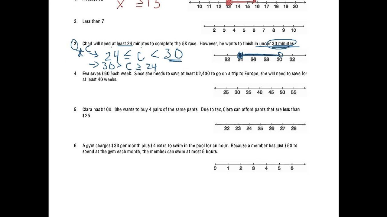hight resolution of Writing and Graphing Inequalities in Real-World Problems (solutions