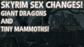 SKYRIM SEX CHANGES! Giant Dragons and Tiny Mammoths. (Messing With Console Commands Part 1)