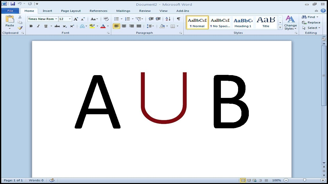 How To Insert Union Symbol In Word Youtube