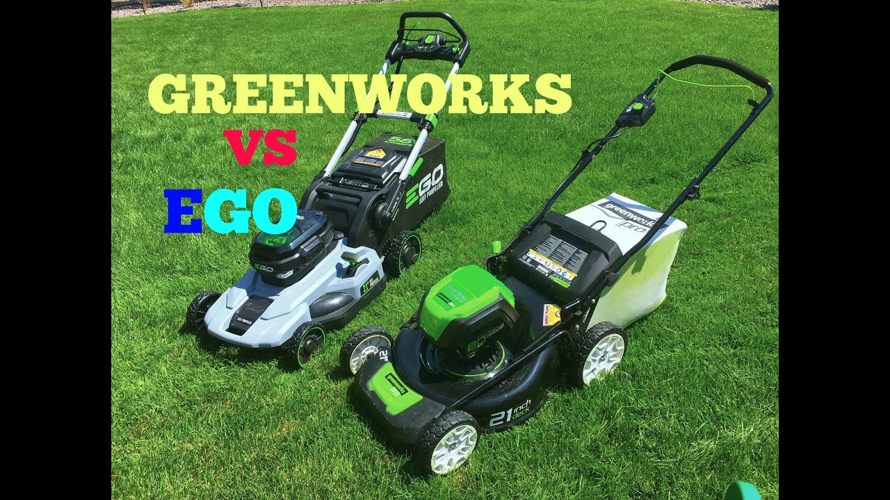 Greenworks VS EGO electric lawn mowers paring slow motion at