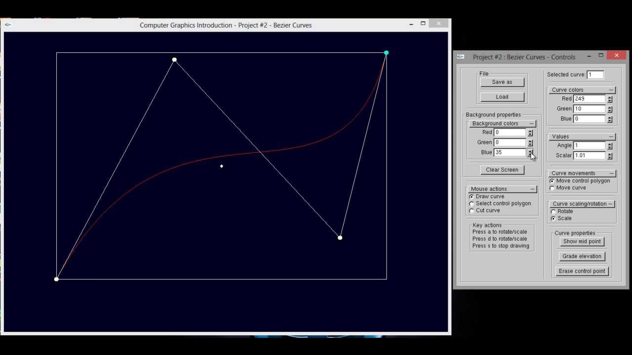Line Drawing Algorithm Using Opengl : Bezier curve opengl youtube