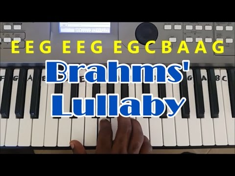 How To Play Brahms' Lullaby - Cradle Song. Easy Piano Keyboard Tutorial