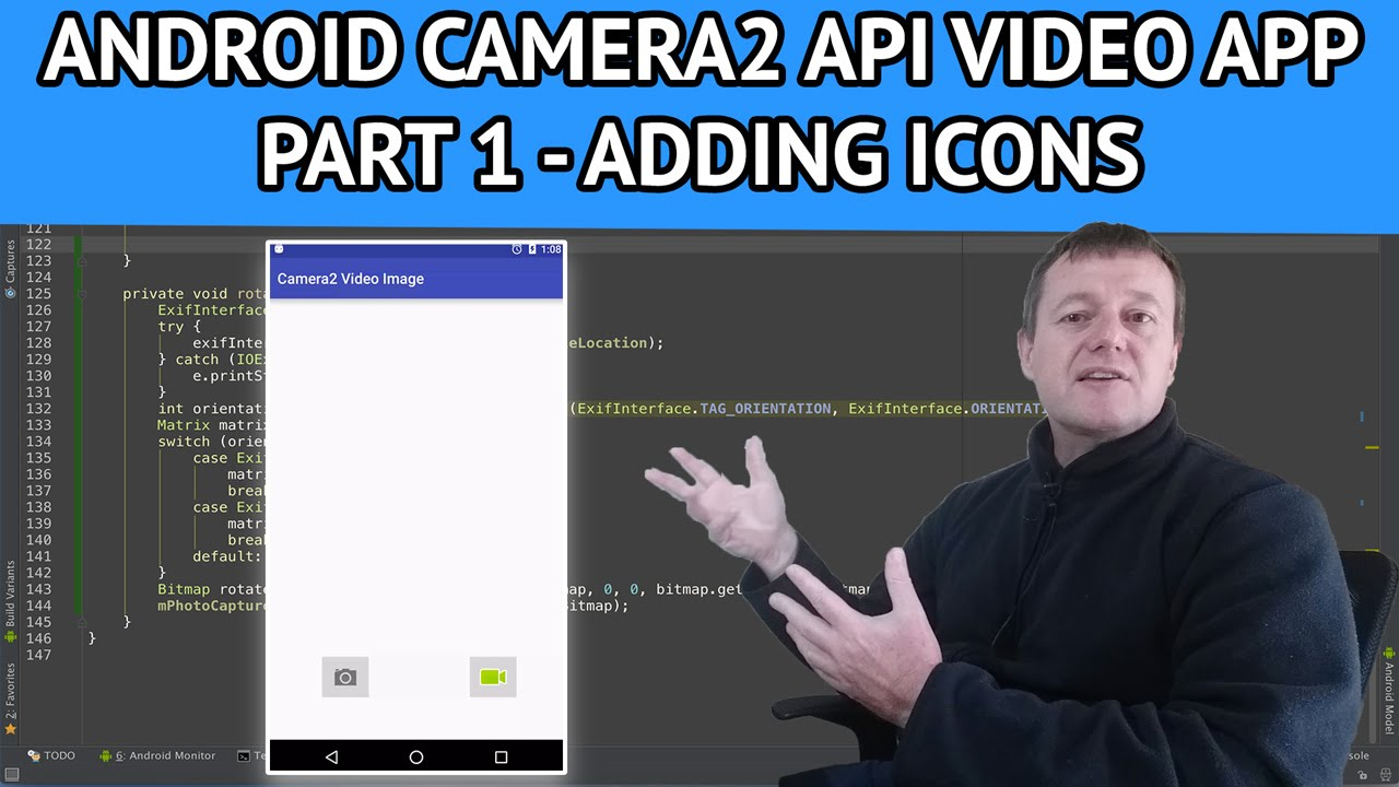 Android Camera2 API Video App - Part 1 How to add icons using android studio