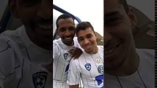 شاهد: لاعب هلالي يقلد الشاعر حيدر العبدالله في قصيدة سكنانا
