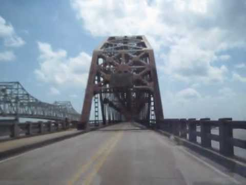 Opened in 1939 Old US 90 Atchafalaya River Bridge at Morgan City, Louisiana  MVI 3817