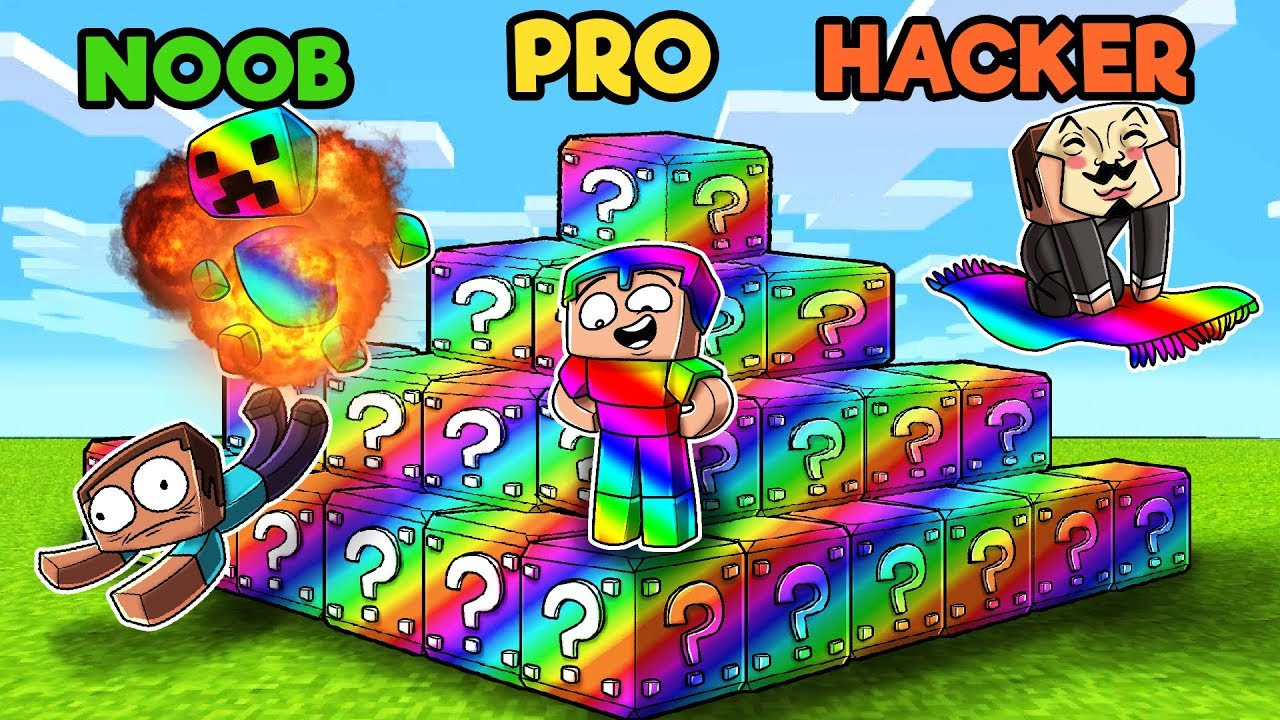 minecraft - rainbow lucky block challenge   noob vs pro vs hacker