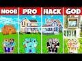Minecraft: FAMILY LOVELY LUXURY MANSION BUILD CHALLENGE - NOOB Vs PRO Vs HACKER Vs GOD In Minecraft