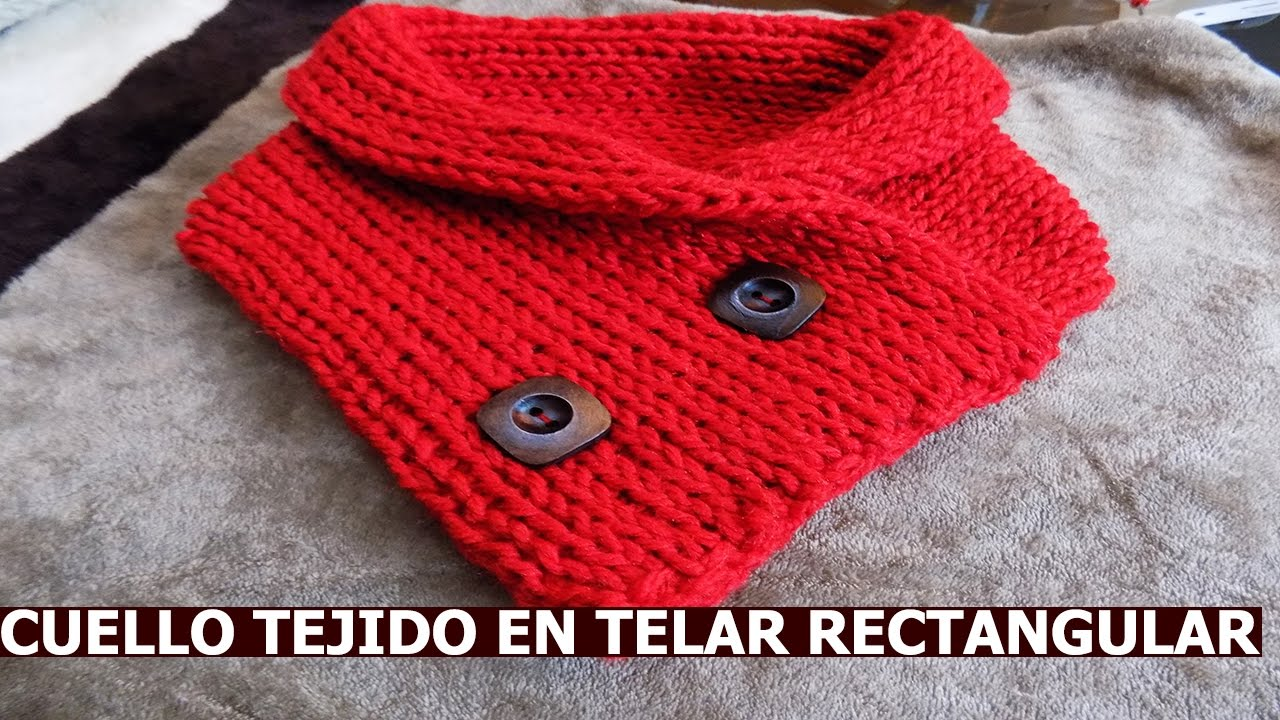 diy cuello tejido en telar rectangular super facil