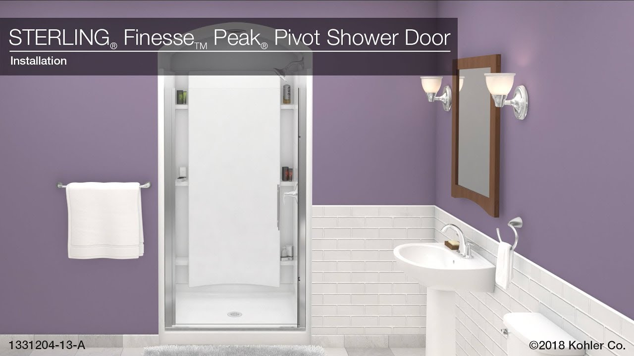 39-in W x 67-in H Sterling 5698-39ADR-G05 Finesse Peak Frameless Pivot Shower Door with Clear Glass Deep Bronze