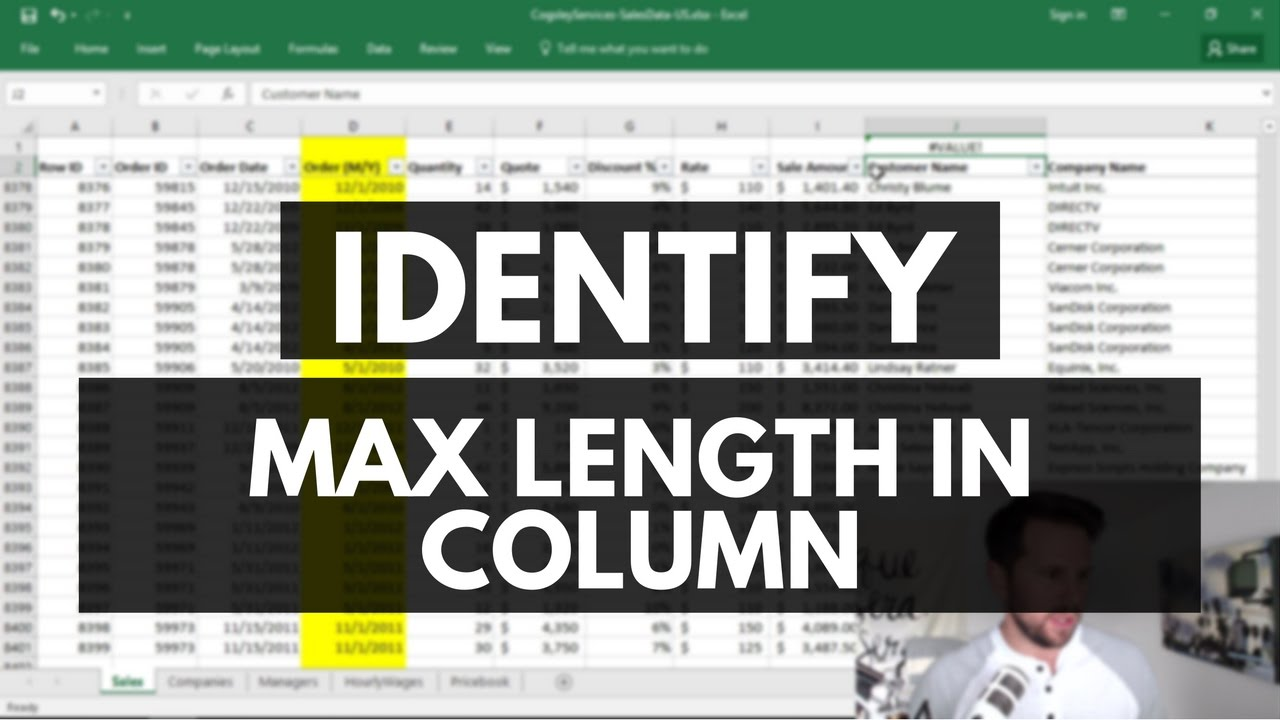 Excel Tip: Identifying the max length of values in a column - Ben