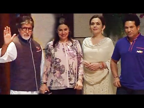 Mumbai Indians के IPL 2017 के जीत पर Ambani की GRAND PARTY - Amitabh, Sachin Tendulkar