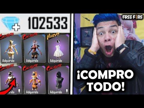 ¡COMPRO 100,000 DIAMANTES y COMPRO TODA LA TIENDA de FREE FIRE! +$16,000!! *nunca antes visto*