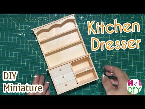 DIY Miniature Kitchen Dresser | How to make a Kitchen Dresser for Dollhouse