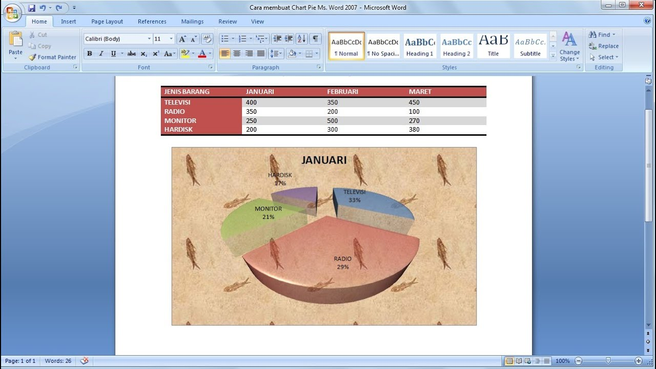 how to create pie chart in microsoft word 2007