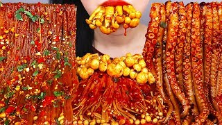 ASMR SPICY MARA MUSHROOM, OCTOPUS, NOODLE, 매운 마라 먹방 *중국당면, 팽이버섯, 낙지, 쭈꾸미* NO TALKING EATING SOUNDS
