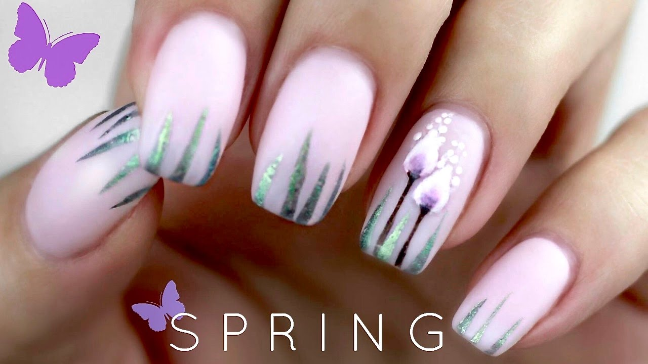 Gelnägel Lila Matte Spring Nail Art Simple Spring Flowers Nails FrÜhlings