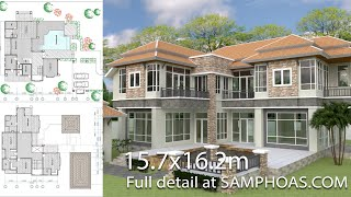 Video Villa Design 4 Bedroom House Size 15,7x16,2m Sketchup Lumion Autocad download MP3, 3GP, MP4, WEBM, AVI, FLV Desember 2017
